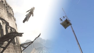An 'Assassin's Creed' Stuntman Performs A Breathtaking 125-Foot Leap Of Faith For The Perfect Shot
