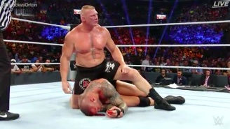 This Clip Of Brock Lesnar Gashing Open Randy Orton Makes It Clear Why He Needed Staples In His Head