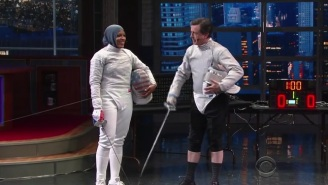 Stephen Colbert Has A Spirited Fencing Duel With Olympian Ibtihaj Muhammad
