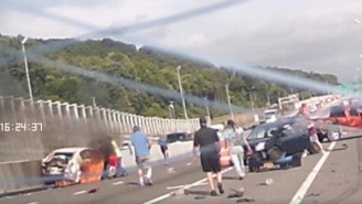 Watch The Dramatic Highway Rescue Of A Woman Trapped Inside A Burning Car