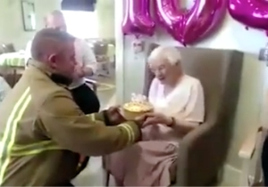 An 105-Year-Old Woman Asked For Hot Firefighters On Her Birthday And That's Exactly What She Got