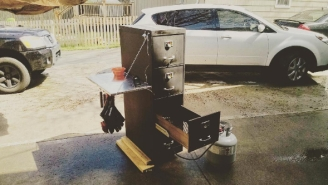 This Guy Upcycled Old Office Furniture To Make Smoked Meat In His Backyard