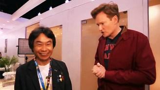 Conan O'Brien Meets 'Super Mario' Creator Shigeru Miyamoto And Asks About His Mustache Obsession