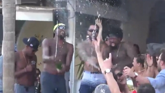 Kevin Durant And DeAndre Jordan Celebrated Olympic Gold By Popping Bottles In Mykonos
