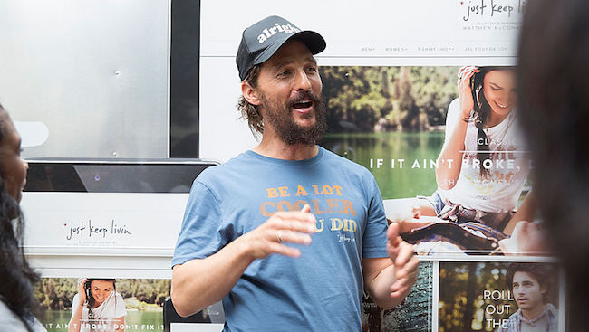 "Matthew McConaughey Hosts ""just keep livin"" Pop-Up Shop In Hometown Of Austin, TX"