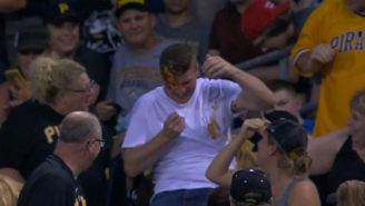 This Poor Fan Ended Up With A Face Full Of Nachos After Failing To Catch A Foul Ball