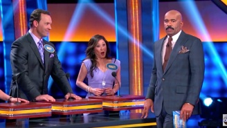 Steve Harvey Flusters Kristi Yamaguchi With His Reaction To Spanking On 'Celebrity Family Feud'