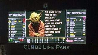 Yoda Showed Up At Saturday's Texas Rangers Game And Expressed His Hatred For The Wave