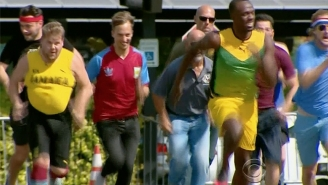 Not Even Owen Wilson And The Entire 'Late Late Show' Staff Can Beat Usain Bolt In A Race