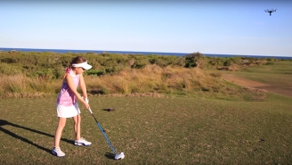 This 8-Year-Old Girl Showed Off Her Impressive Golf Swing By Destroying A Drone Mid-Flight