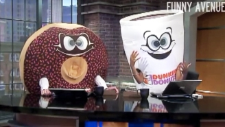 Hijinks Ensue When Morning News Anchors Dress Up In Dunkin' Donuts Mascot Costumes