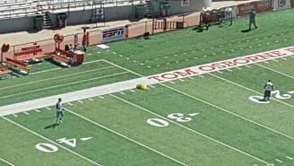 Oregon Put Flowers On The 27-Yard Line Before A Game At Nebraska To Honor Sam Foltz