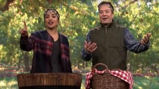 'Quantico' Star Priyanka Chopra Dominated Jimmy Fallon At Bobbing For Apples