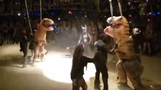 Why Didn't Anyone Tell Us There Were T-Rex Fights At Burning Man?