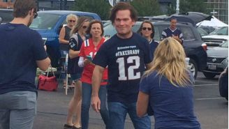 Wes Welker Was The Man Behind That Creepy Tom Brady Mask At A Pats Tailgate