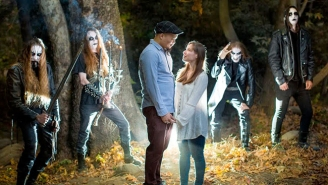A Couple Takes The Best Engagement Photos Ever After They Stumble Upon A Black Metal Band In The Woods