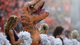 This Denver Broncos Cheerleader Dressed As A Dinosaur Performed The Best NFL Dance Routine Ever
