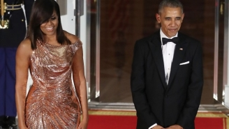 The Internet Went Nuts Over Michelle Obama's Stunner Of A Final State Dinner Dress