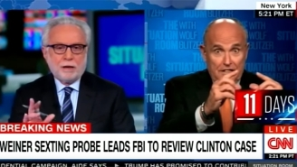 Wolf Blitzer Tries To Corral A Wild Rudy Giuliani While Discussing The FBI's Interest In Hillary's Emails
