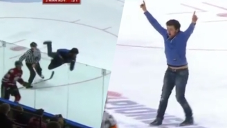 A Local Hero Scaled The Plexiglass To Storm The Ice At A Minor League Hockey Game