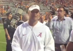 Lane Kiffin Celebrated Alabama's Beatdown Of Tennessee By Throwing His Visor To A Vols Fan