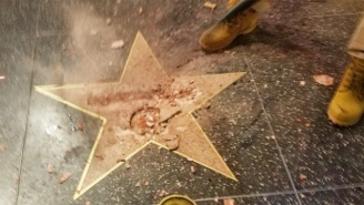 A Sledgehammer And Pickax-Wielding Man Smashed Donald Trump's Star On Hollywood's Walk Of Fame To Pieces