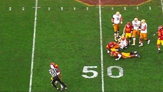 A Referee Got Destroyed And Knocked Out Of The Game By USC Linebacker Michael Hutchings