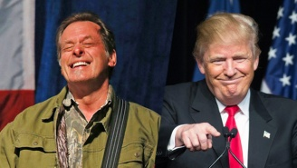 Of Course Ted Nugent Groped Himself Onstage After Shredding The National Anthem At A Trump Rally
