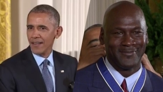 President Obama Made An Amazing 'Space Jam' Joke In Front Of Michael Jordan