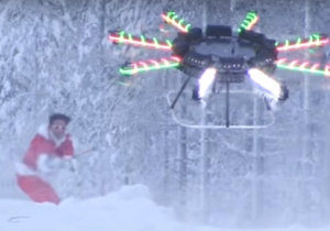 Watch A Snowboarder Carried Into The Air By A Custom Christmas Drone