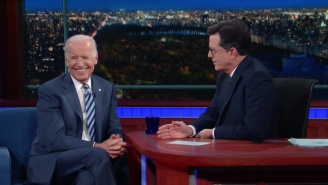 Joe Biden Confronts Those Presidential Rumors With Some Shots At Trump On 'Colbert'