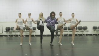 Please Enjoy Mick Foley Learning How To Do Kicks With The Rockettes