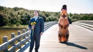 This T-Rex Bride Surprising Her Groom Will Make You Wish For A 'Jurassic World' Rom-Com