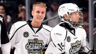 Justin Bieber Hit The Ice At The NHL All-Star Celebrity Shootout And Was Smashed Into The Glass For His Troubles