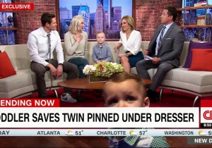 Watch The Hero Toddler Who Rescued His Twin Brother From Under A Dresser Wreak Havoc On CNN