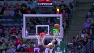Giannis Antetokounmpo Used His Crazy Ups And Long Arms To Catch This Alley-Oop