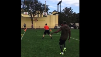 Marquette King Punted A Ball At A Basketball Hoop And Swished It Because He's a Boss