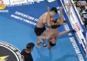 Watch This MMA Fighter Land A WWE Style Powerbomb Slam On His Opponent