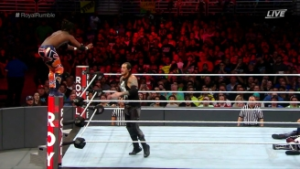 Watch Kofi Kingston Impale Himself To Avoid Elimination In The Royal Rumble