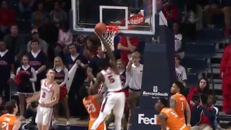 An Ole Miss Player Cleaned Up A Double Block With This Massive One-Handed Dunk