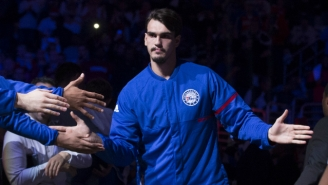 Dario Saric Dropped An F-Bomb On Live Television After A Teammate Dumped Water On His Head