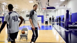 Dirk Nowitzki Put Harrison Barnes To Sleep In This Mavs Shooting Drill