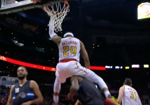 Kent Bazemore Landed On Serge Ibaka's Shoulders After Finishing An Alley-Oop