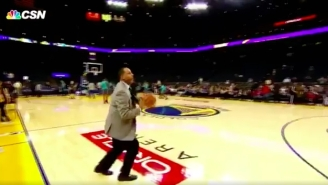 Dell Curry Hit A Long Three In Pre-Game On A Dime From His Son Steph