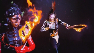 Grimes And Janelle Monae Are Flame-Wielding Warriors In The 'Venus Fly' Video