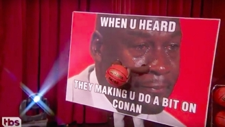Conan O'Brien Tapped Crying Jordan And Shrunken-Head Shaq To Try To Dunk For Him