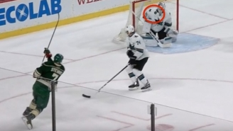 A San Jose Sharks Goalie Accidentally Saved A Shot With His Jersey Collar