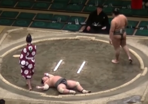 A Sumo Wrestler Knocked His Opponent Right The Hell Out