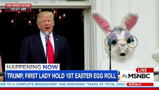 Trump's Ludicrous Appearance With The Easter Bunny At His First Easter Egg Roll Inspired Plenty Of Jokes