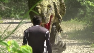 Watch A Jogger Literally 'Wet' Himself Running From A T-Rex In This 'Jurassic Prank'